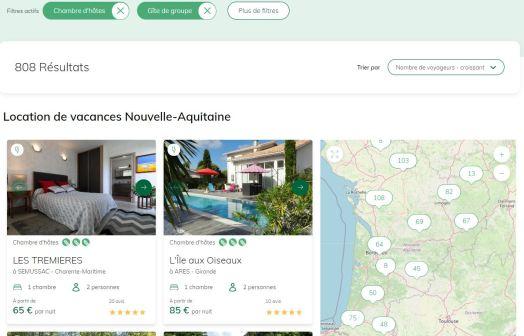 LEs chambres d'Hotes en Nouvelle Aquitaine